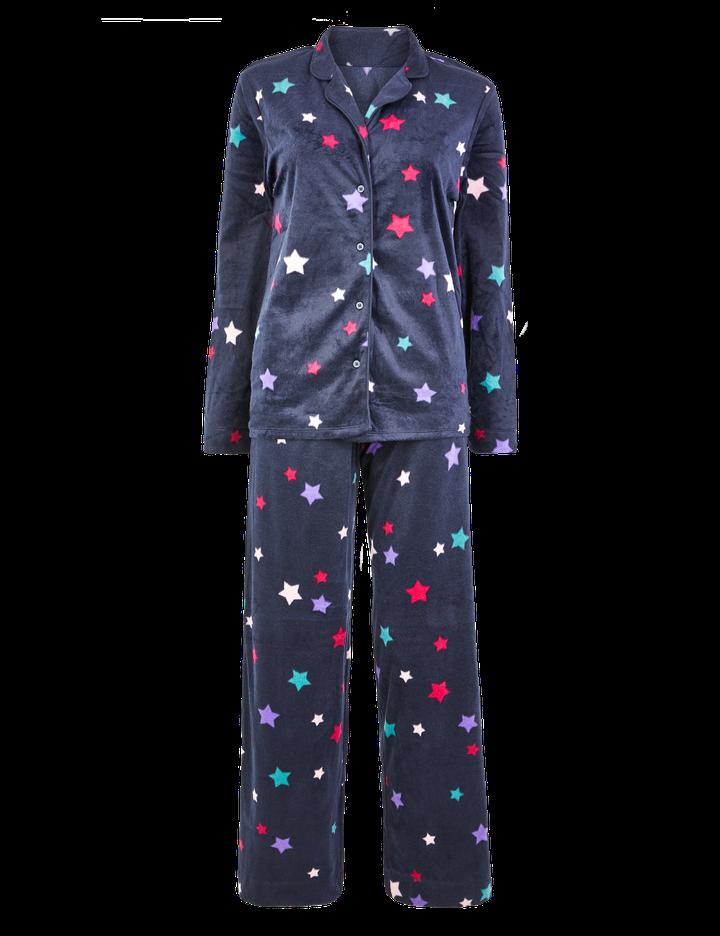 "<a href=""https://fave.co/3830qOk"">Fleece Star Print Pyjama Set, Marks &amp; Spencer,</a> &pound;15"