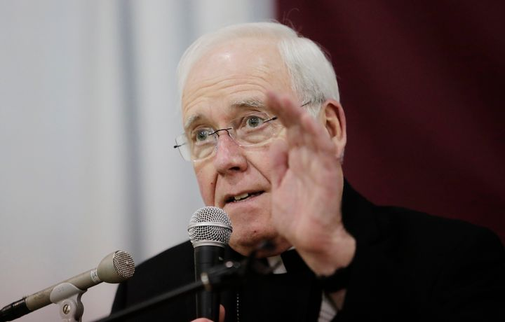 FILE - In this Nov. 5, 2018 file photo, Bishop Richard Malone of Buffalo, speaks during a news conference in Cheektowaga, N.Y