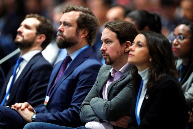 Pablo Casado (PP), Iván Espinosa de los Monteros (Vox), Pablo Iglesias (Podemos), e Inés Arrimadas (Ciudadanos),