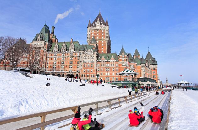 Quebec City, Ttraditional slide in front of Chateau Frontenac during the Carnival of Quebec in