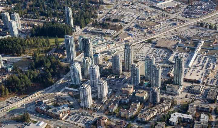 Residential high-rises and a shopping centre in the Greater Vancouver city of Coquitlam, B.C., March 9, 2018: