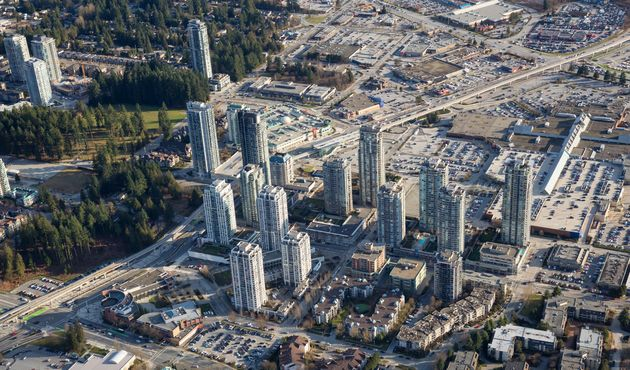 Residential high-rises and a shopping centre in the Greater Vancouver city of Coquitlam, B.C., March...