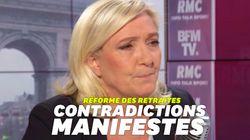 Sur les retraites, Marine Le Pen toute en