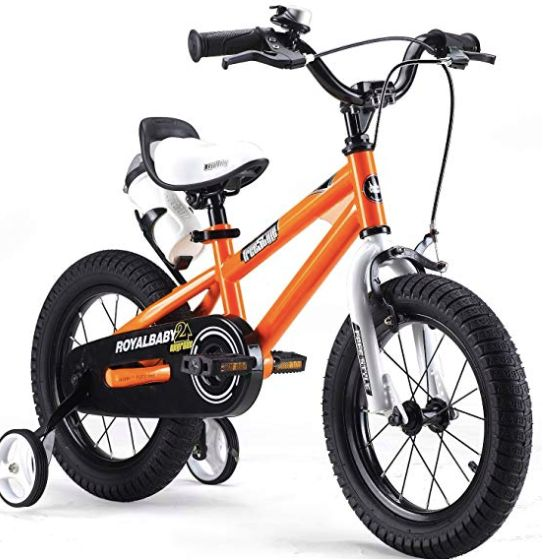 """<a href=""""https://fave.co/2YhgSpD"""" target=""""_blank"""" rel=""""noopener noreferrer"""">Royalbaby Freestyle Kids&rsquo; Bike with Stabilisers, Water Bottle and Holder, Amazon</a>, from &pound;98.99"""