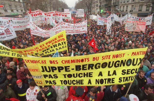 Manifestation contre le plan Juppé en