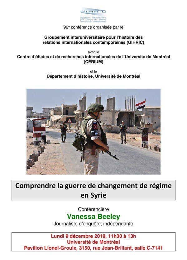 L'affiche originale de la conférence de Vanessa Beeley à l'Université de Montréal. (Capture