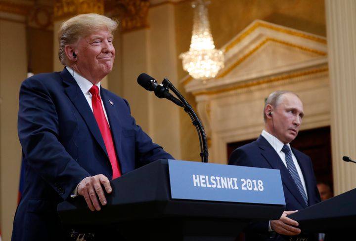President Donald Trump beside Russian President Vladimir Putin during a press conference in Helsinki, Finland, in July 2018.