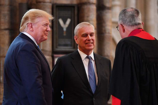 Prince Andrew and President Donald Trump talk with Dean of Westminster John Hall (right) during a June...