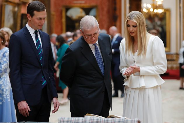 Ivanka Trump and Jared Kushner view displays from the Royal Collection with Prince Andrew at Buckingham...