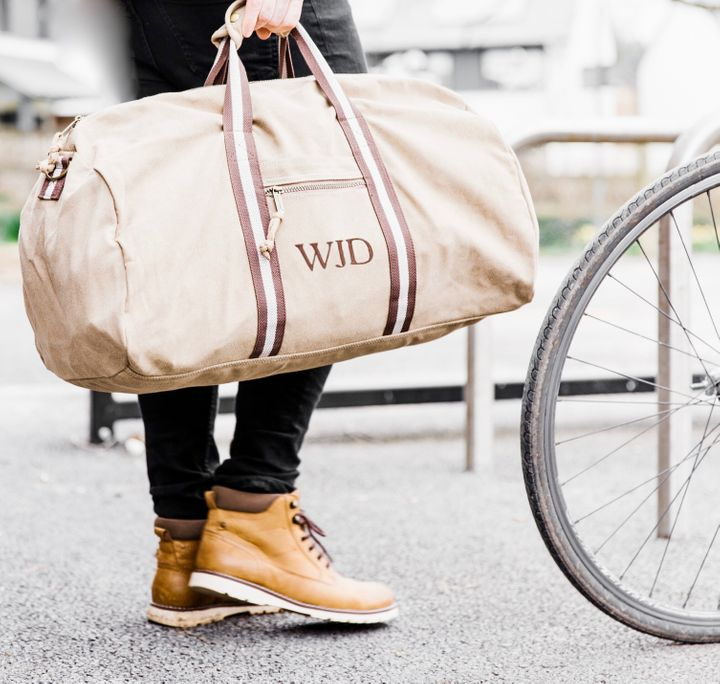 """<a href=""""https://fave.co/2rdf3Ox"""">Personalised Natural Canvas Holdall, The Forest &amp; Co, via Not On The High Street,</a> &pound;39"""