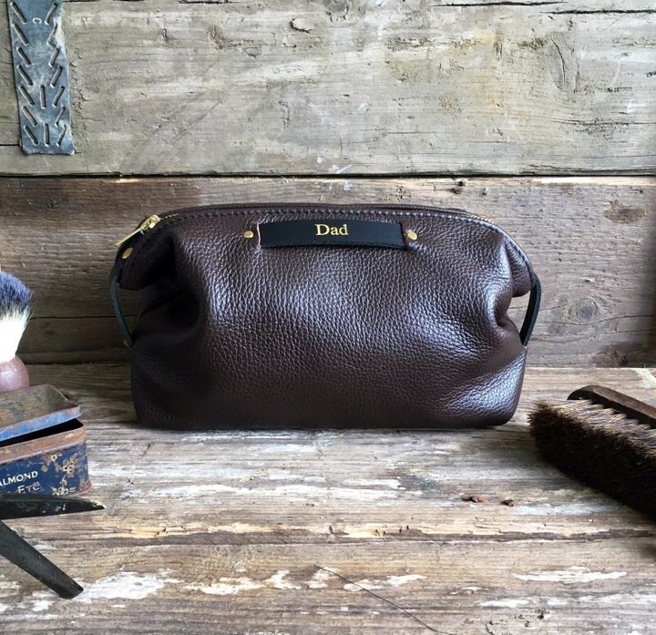 """<a href=""""https://fave.co/2Pc2kDQ"""">Personalised Leather Toiletry Bag, Studio Tew, Etsy,</a> &pound;33.40"""