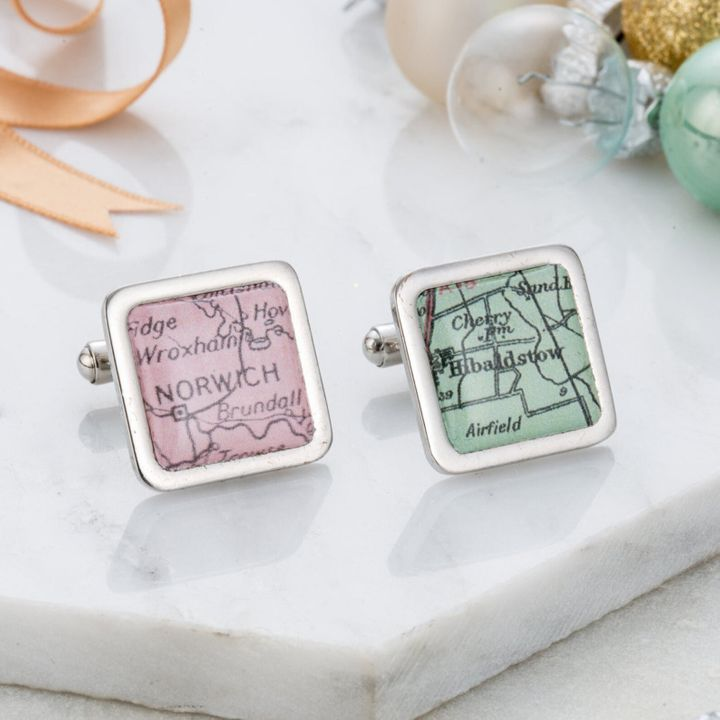 """<a href=""""https://fave.co/2qjYZKm"""">Personalised Map Cufflinks, Posh Totty Designs, Etsy, </a>&pound;20"""