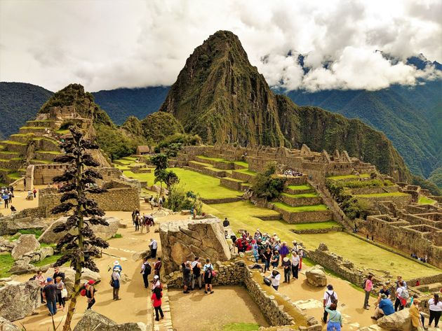 Ruins of Machu Picchu high angle view