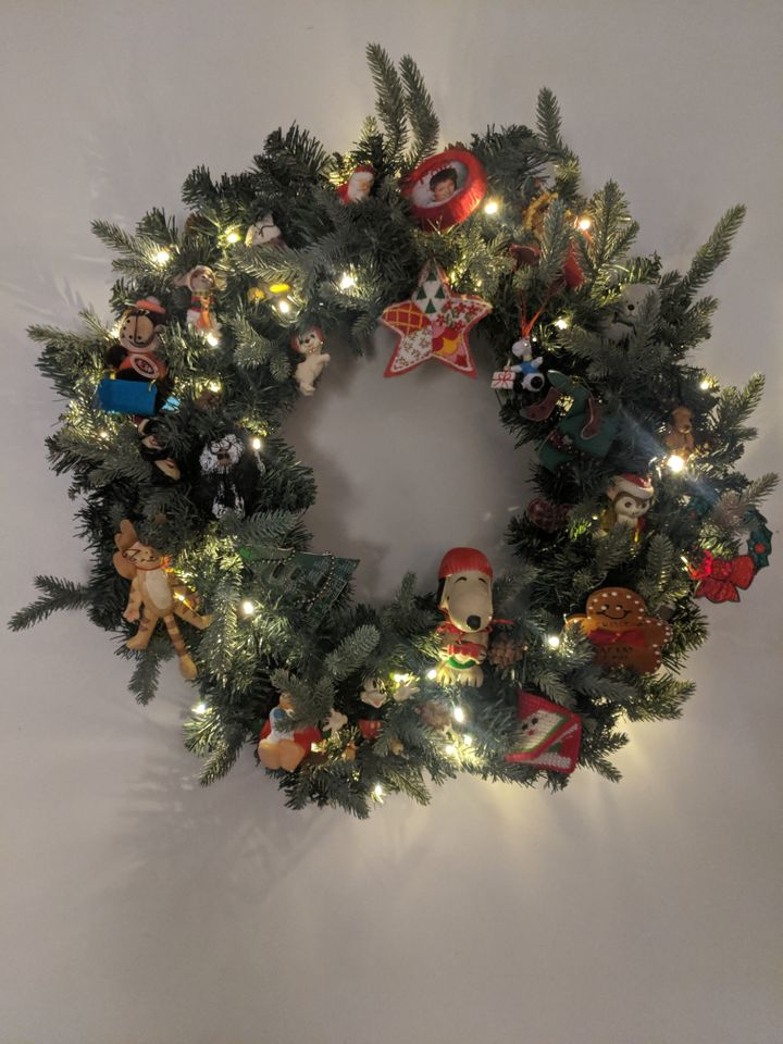 The wreath included Christmas ornaments with lots of sentimental value.