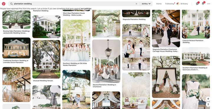 """A current search for """"plantation wedding"""" on Pinterest includes an advisory at the top reading that includes asking people to """"let us know if you see something that goes against our policies."""""""