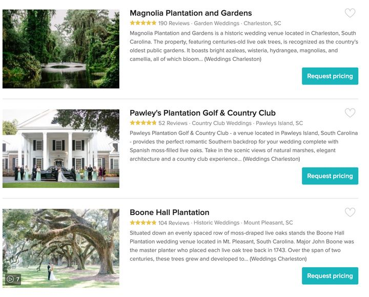 "Here are a few popular plantations listed on Wedding Wire, including Boone Hall Plantation, where actors Blake Lively and Ryan Reynolds <a href=""https://people.com/celebrity/blake-lively-ryan-reynolds-married-at-boone-hall-plantation/"" target=""_blank"" rel=""noopener noreferrer"">were married in 2012</a>. Wedding Wire is working with the advocacy group Colors of Change to alter language guidelines."