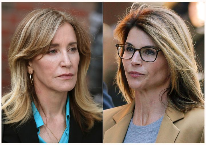 Felicity Huffman, left, and Lori Loughlin, right, outside of federal court in Boston on April 3, 2019, where they faced charges in a nationwide college admissions bribery scandal.