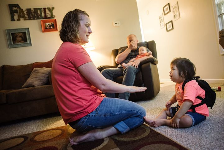 Catherine and Dave with their children months before Abby's transplant.