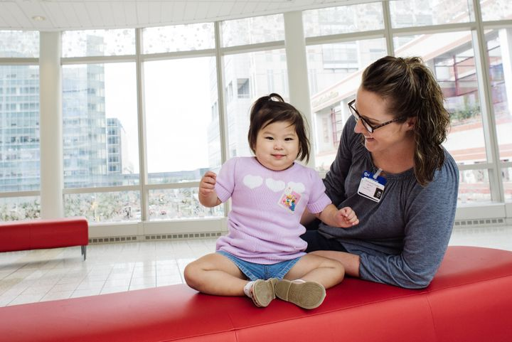 Abby in out-patient follow-up after her liver transplant with her mother, Catherine.