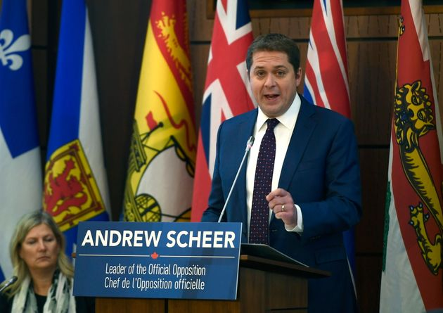Conservative leader Andrew Scheer speaks to caucus on Parliament Hill in Ottawa on Dec. 4,