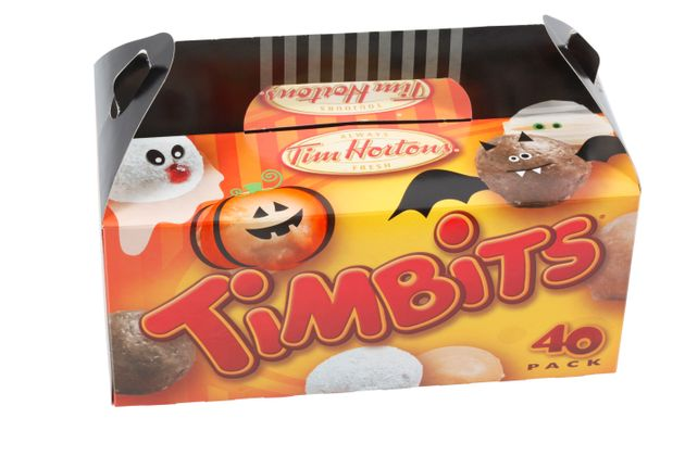 The box of Timbits in our newsroom was recycled before we could take a photo. So here is one from Halloween