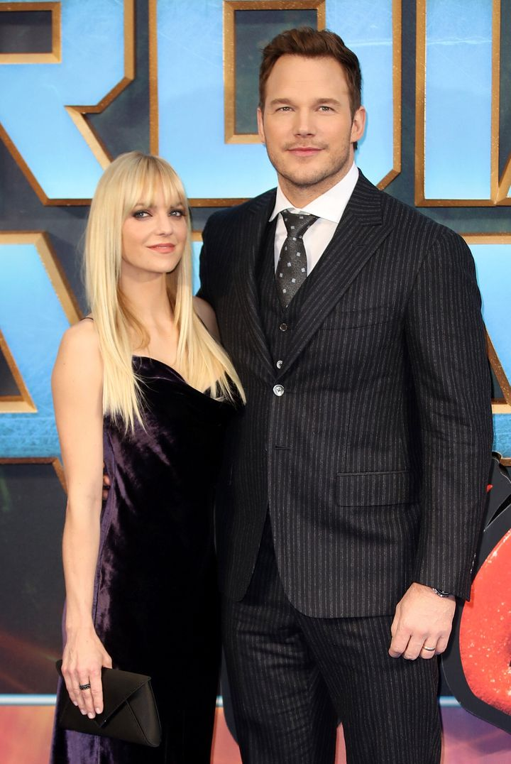 """Anna Faris with her ex-husband Chris Pratt at a screening of """"Guardians of the Galaxy Vol. 2"""" in 2017."""