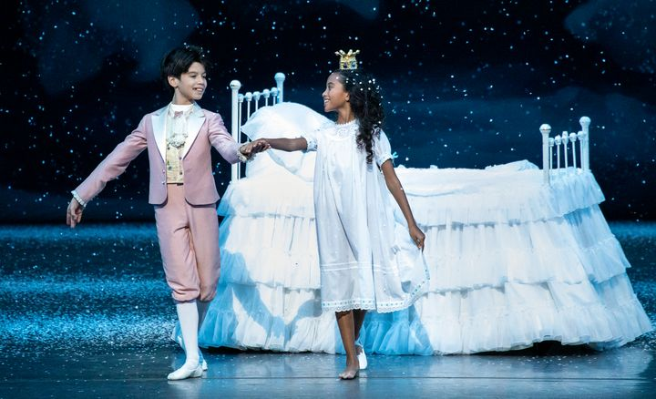 """Tanner Quirk and Charlotte Nebres dance in the New York City Ballet's """"The Nutcracker."""""""