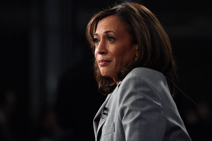 Sen. Kamala Harris speaks to the press after participating in the fifth Democratic primary debate in Atlanta on Nov. 20, 2019