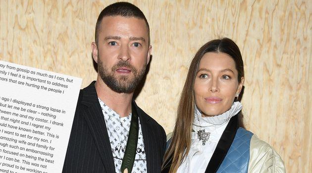 Justin Timberlake, ici avec Jessica Biel le 1er octobre à la Fashion Week de Paris, a démenti les rumeurs...