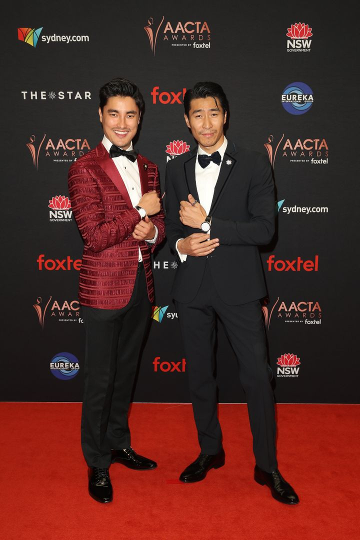 Remy Hii and Chris Pang attend the 2019 AACTA Awards.