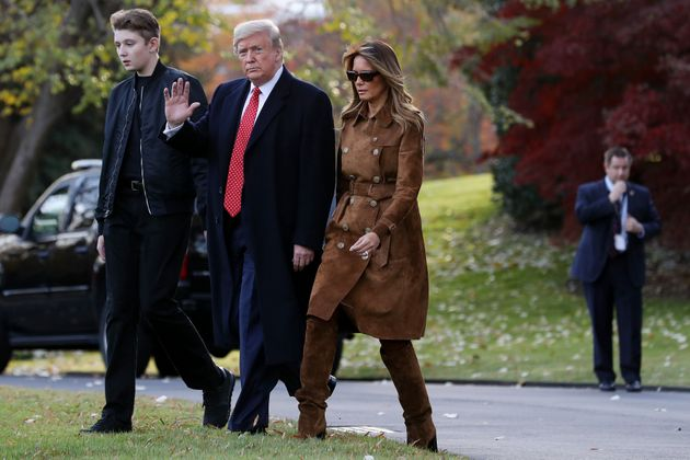 WASHINGTON, DC - NOVEMBER 26: U.S. President Donald Trump, first lady Melania Trump and their son Barron...