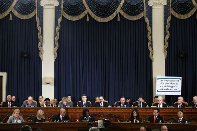 House Judiciary Committee Chairman Rep. Jerrold Nadler, D-N.Y., center, with members of the committee,...