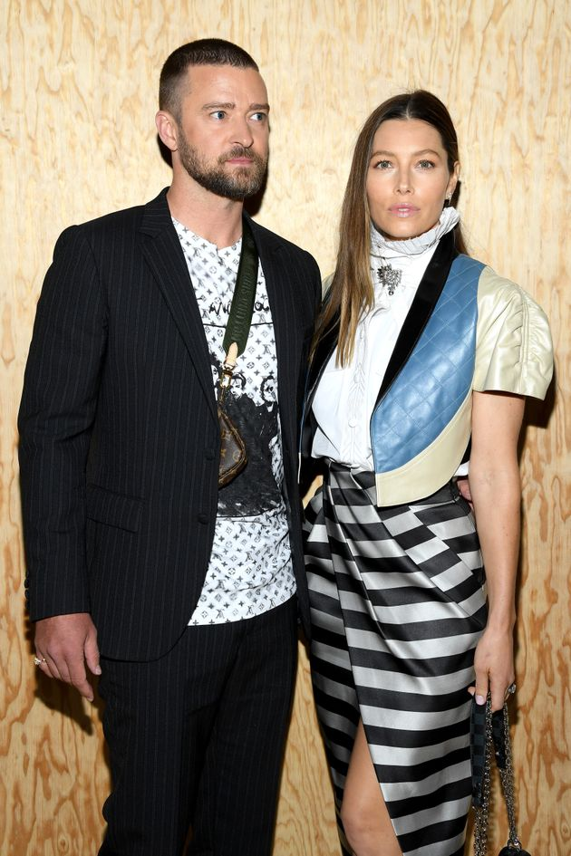 Justin Timberlake and Jessica Biel attend a fashion show in France in