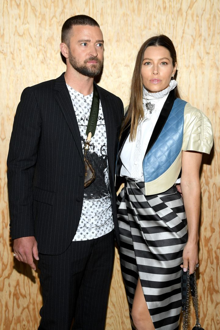 Justin Timberlake and Jessica Biel attend a fashion show in France in October.