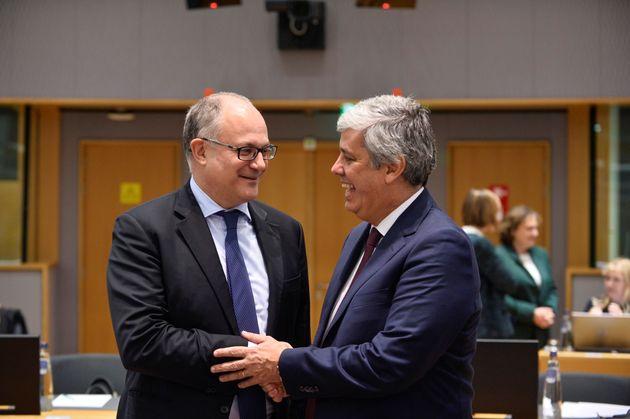 Italian Finance Minister Roberto Gualtieri and Portugal's Finance Minister President Mario Centeno, attend...