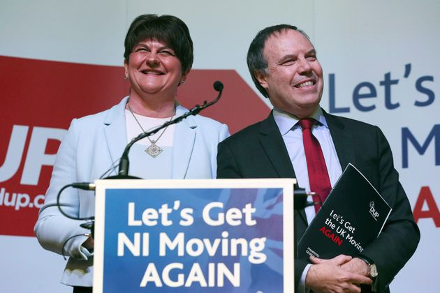 Northern Ireland Democratic Unionist Party leader Arlene Foster, left, and the party's Westminster leader...