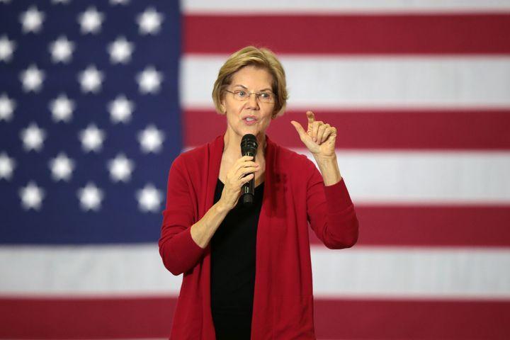 Sen. Elizabeth Warren (D-Mass.) speaks during a campaign stop at Hempstead High School on Nov. 2, 2019, in Dubuque, Iowa.&nbs