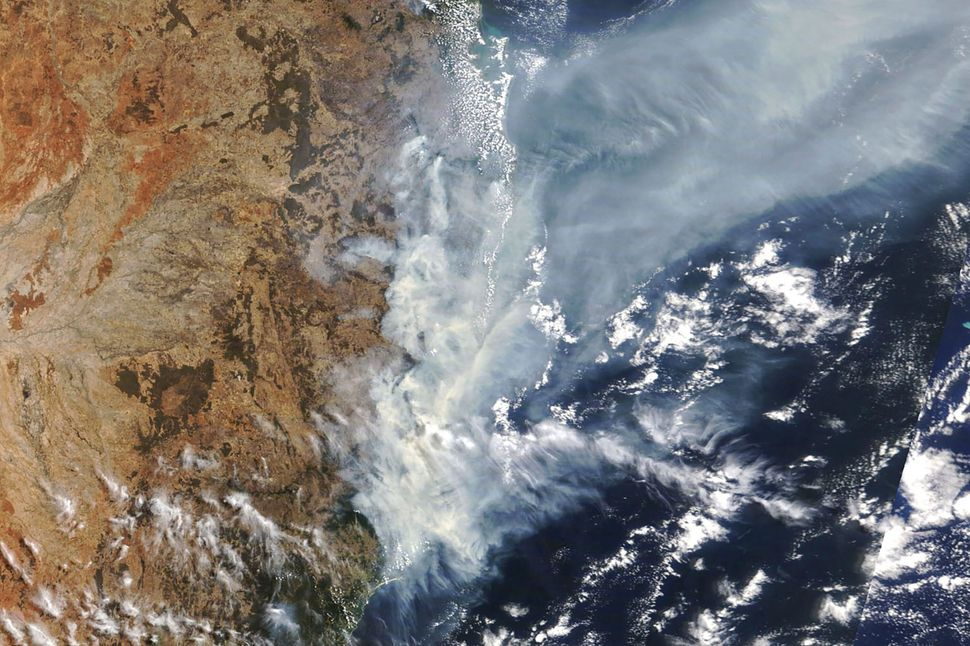 NASA satellite photo of weather conditions as bushfires burn in New South Wales, Australia, in November 2019.
