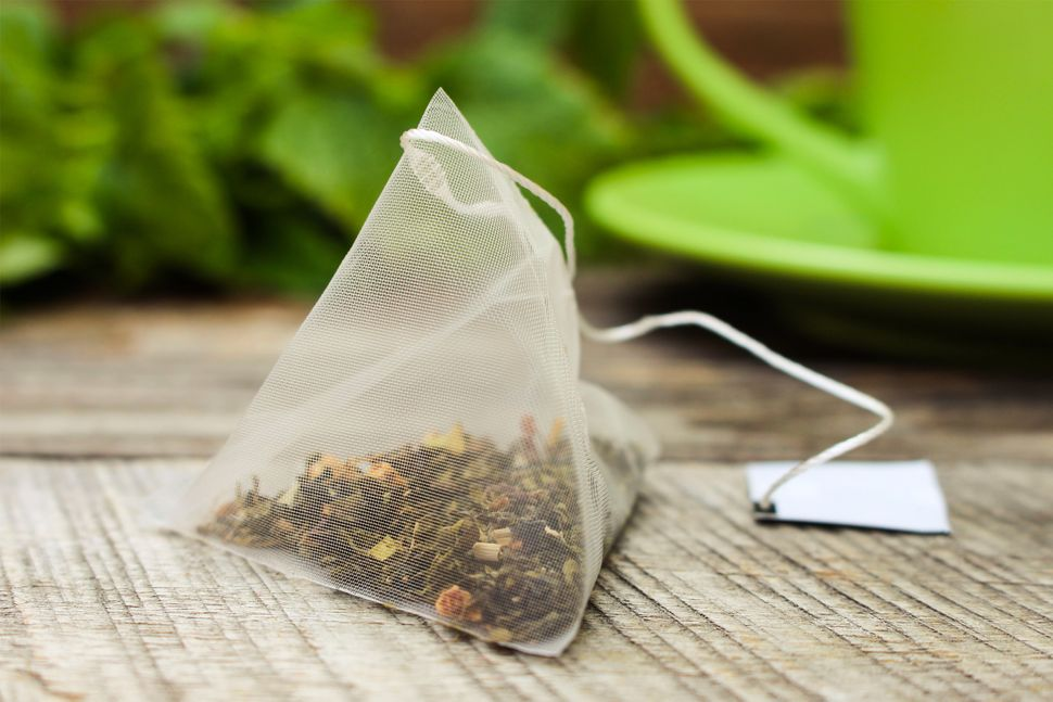 Plastic tea bags typically come in pyramid shapes (but not always).