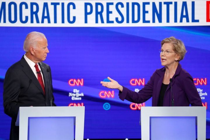 Joe Biden and Elizabeth Warren participate in a Democratic presidential primary debate hosted by CNN/New York Times at Otterb
