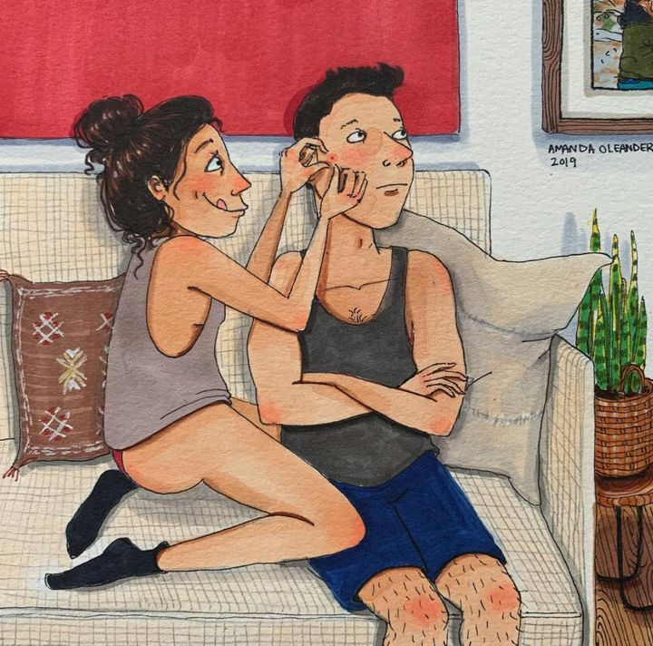 Love is popping your partner's pimple.