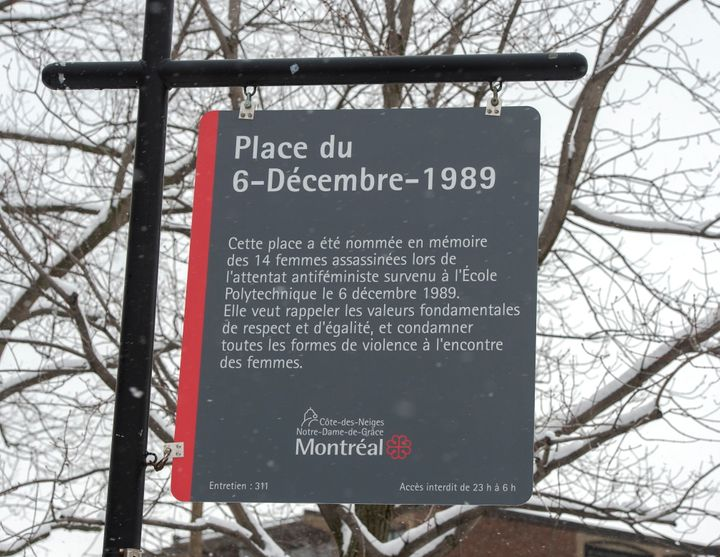 A new sign was unveiled at Dec. 6th Park in Montreal. The new sign now mentions that the attack that killed 14 women at the École Polytechnique on Dec. 6, 1989 was an attack against feminists.