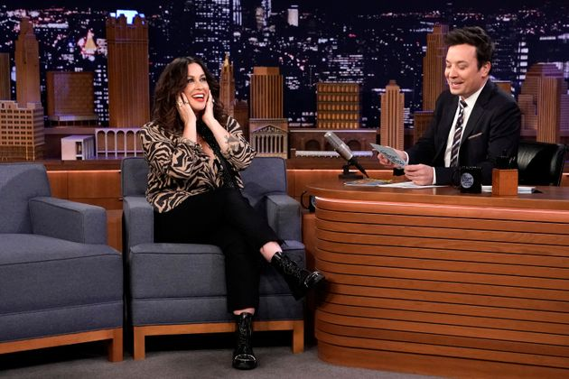 THE TONIGHT SHOW STARRING JIMMY FALLON -- Episode 1170 -- Pictured: (l-r) Musician Alanis Morissette...