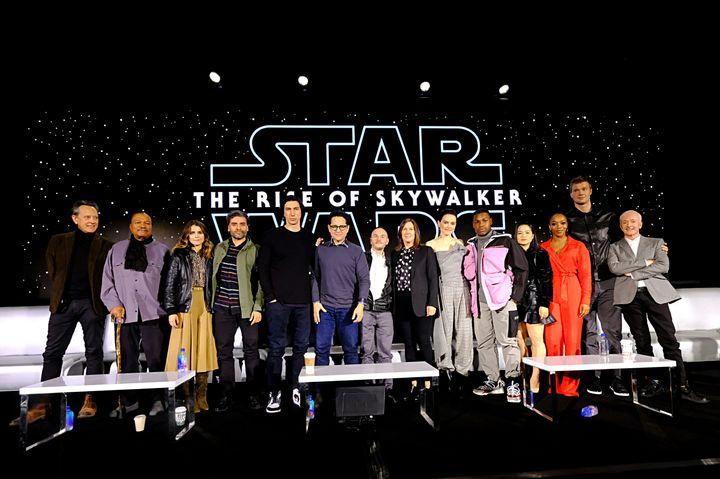 Actors Richard E. Grant, Billy Dee Williams, Keri Russell, Oscar Isaac, Adam Driver, writer/director J.J. Abrams, co-writer C