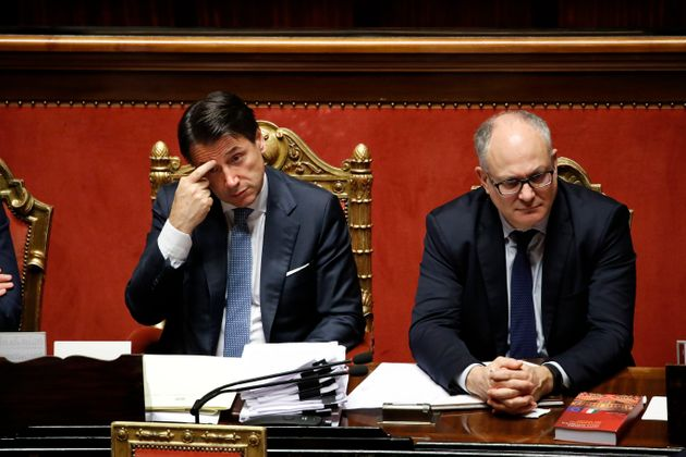 President of the Council of Ministers of the Italian Republic Giuseppe Conte and Italian politician Roberto...
