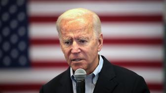 "ALGONA, IOWA - DECEMBER 02: Democratic presidential candidate, former Vice President Joe Biden speaks during a campaign stop at the Water's Edge Nature Center on December 2, 2019 in Algona, Iowa. The stop was part of Biden's 650-mile ""No Malarkey"" campaign bus trip through rural Iowa. The 2020 Iowa Democratic caucuses will take place on February 3, 2020, making it the first nominating contest for the Democratic Party in choosing their presidential candidate to face Donald Trump in the 2020 election. (Photo by Scott Olson/Getty Images)"