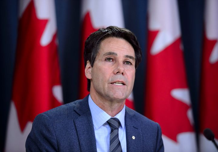 Dr. Eric Hoskins, Chair of the Advisory Council on the Implementation of National Pharmacare, speaks during a press conference at the National Press Theatre in Ottawa on June 12, 2019.