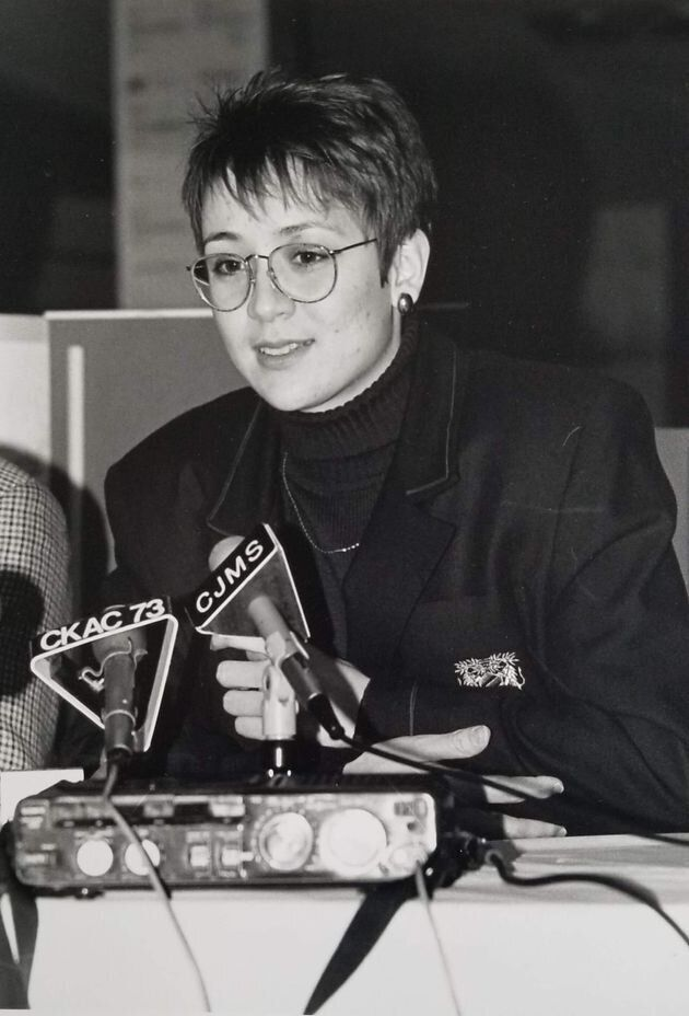 Nathalie Provost speaking to news outlets after the massacre.