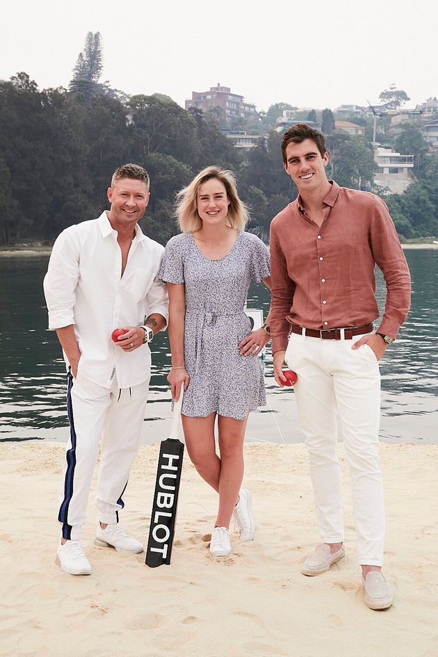 Michael Clarke, Elyse Perry and Pat Cummins at the Hublot Loves Summer event in