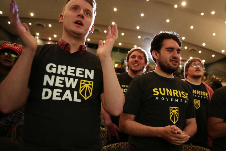 Supporters of the Green New Deal participate in a May 13 rally at Howard University in Washington, D.C. The Sunrise Movement